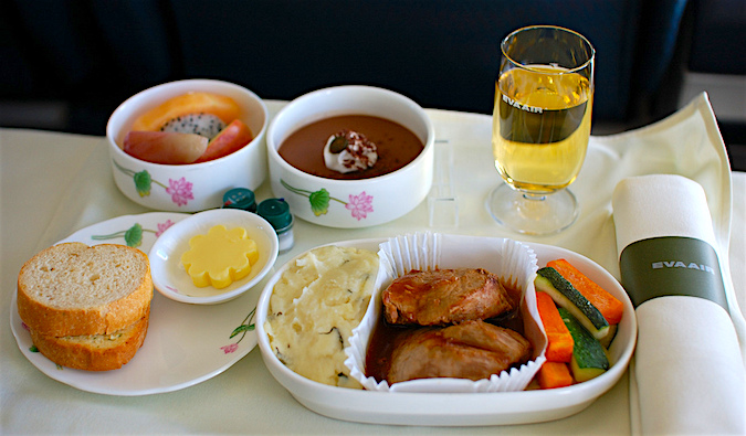 A delicious Eva Air in-flight meal