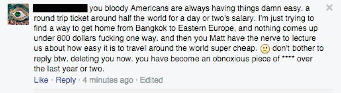 facebook comment about flight deals