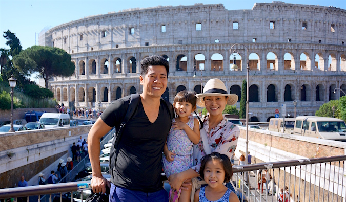 Cliff and his family in front of the Colosseum in Rome