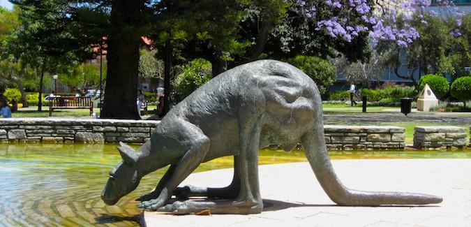 kangaroo statue in Perth, Australia
