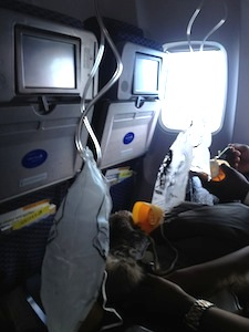 Oxygen masks after the airplane depressurized