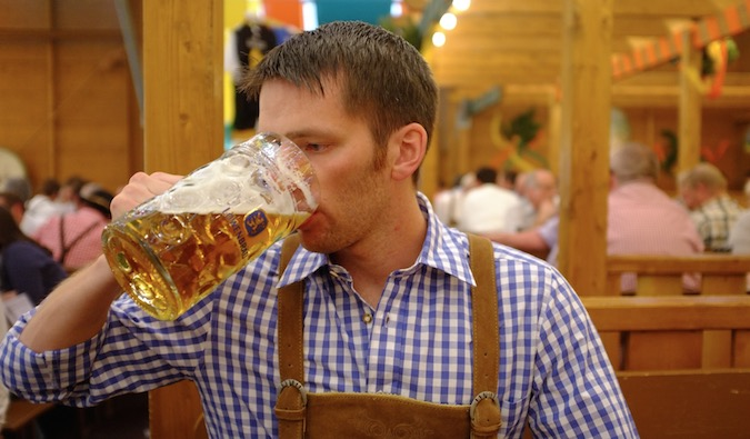 Level Up Your Life author drinking German beer at Oktoberfest