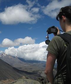 taking a photo in tongariro new zealand