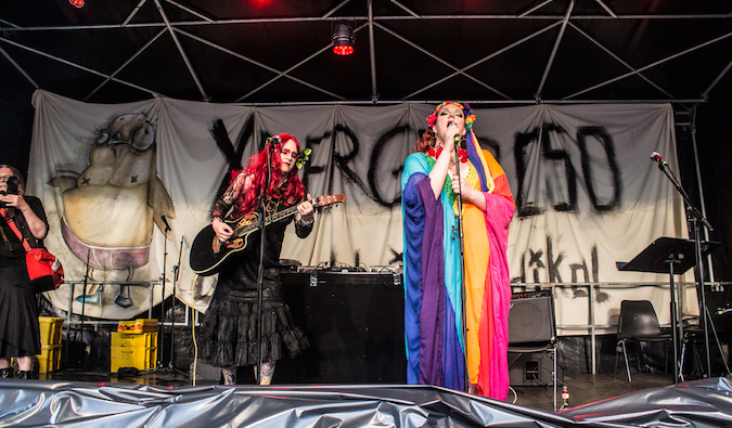 Dressed up drag performers in Kreuzberg, Berlin LGBT pride event