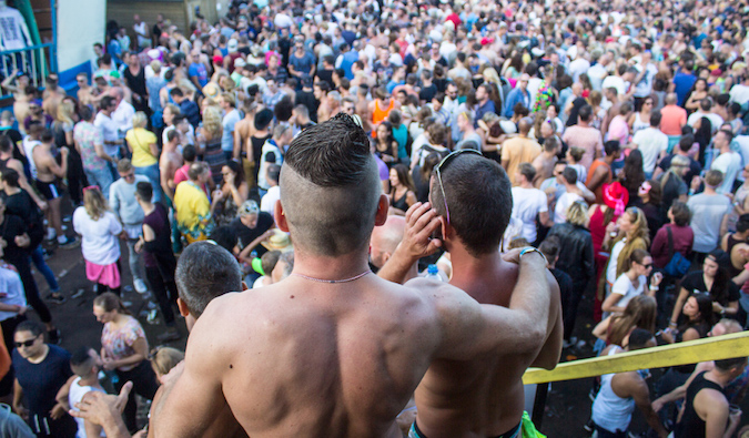 Men at a Dutch queer music festival called milkshake festival in Amsterdam, the Netherlands