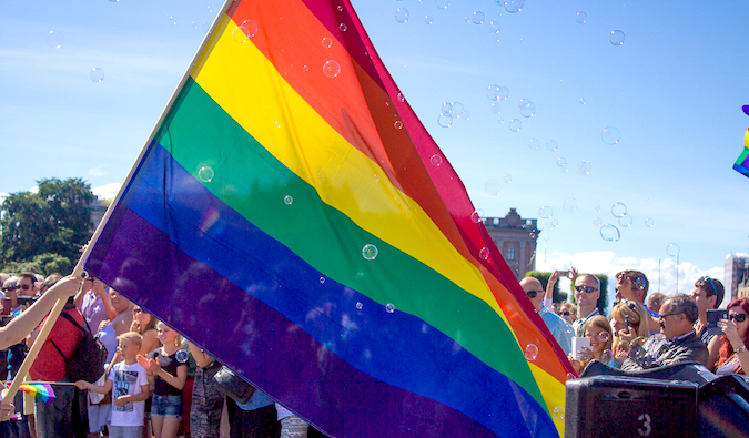 a rainbow flag at stockholm's gay pride event