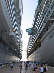 Two towering cruise ships docked