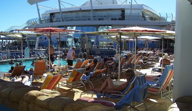 Crowded pool deck on the cruise ship