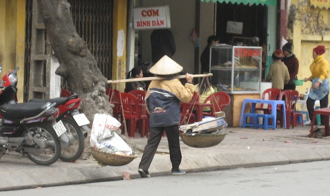 one of the busy locals in hanoi