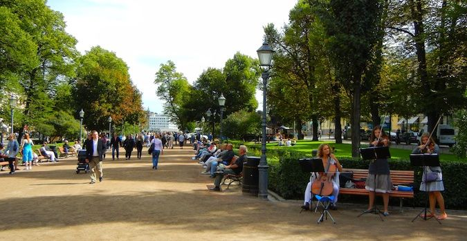 The Esplanade Park in Helsinki, Finland is so natural and serene