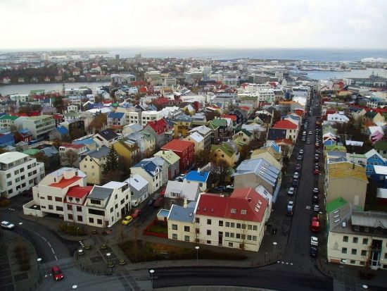 The colorful rooftops of Reykjavik