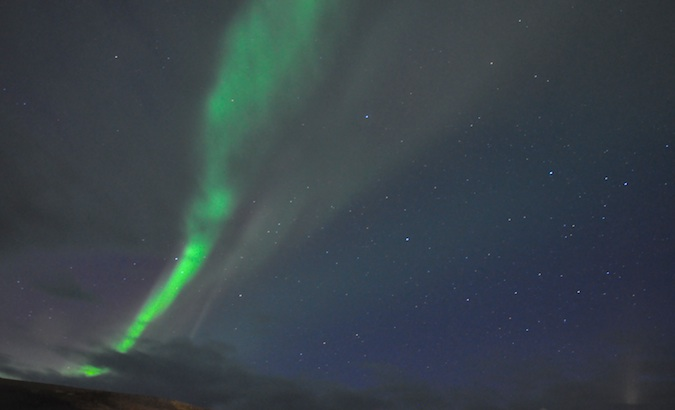 Scenery while watching the Northern Lights from the country of Iceland