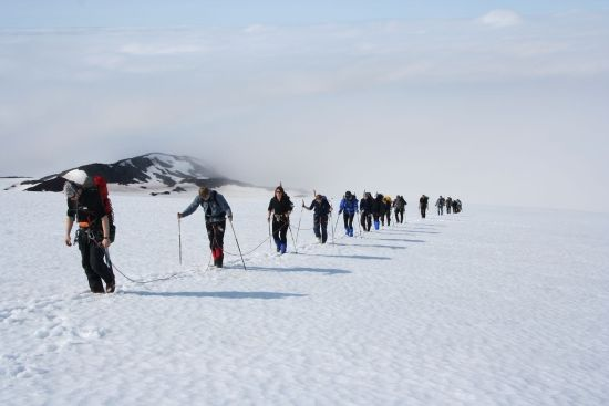 A group of hikers trekking the Iceland Glacier in the snow with backpacks and poles