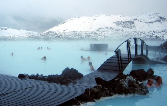 A bridge over the The Blue Lagoon in Iceland, a great place to visit