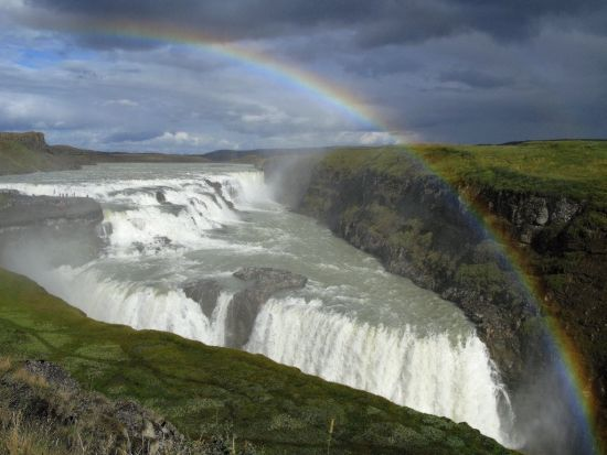 A rainbow over the Gullfoss, Iceland's most famous waterfall