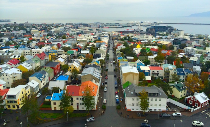 Reykjavik and its colorful houses from above
