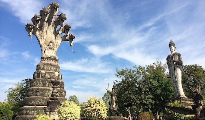 Naga statues at Nong Khai in Isaan