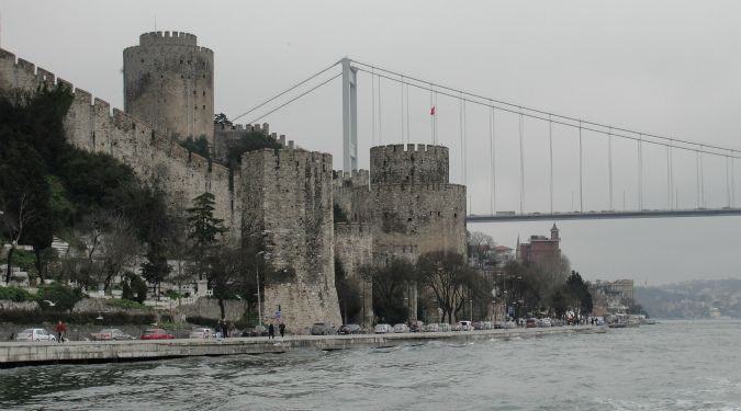 View of castles taken from the ferry around the Turkish islands