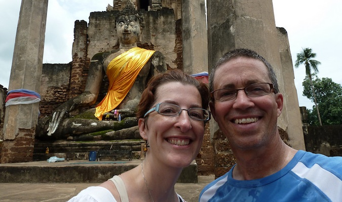 middle age couple traveling in thailand together
