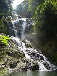 a water fall in khao sok park, thailand