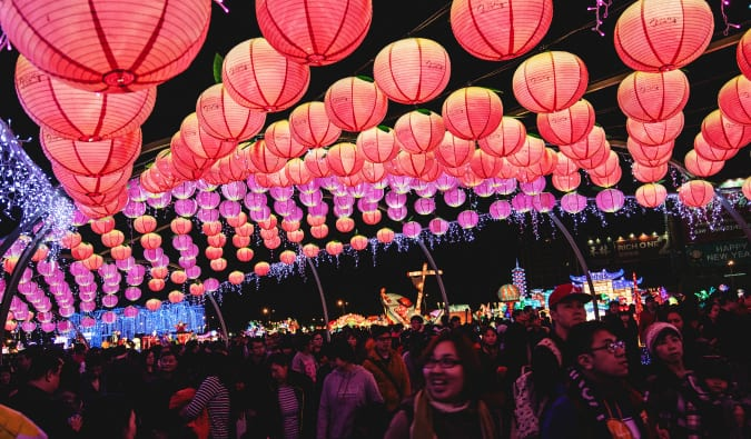 A crowd gathered at the Taiwan lantern festival