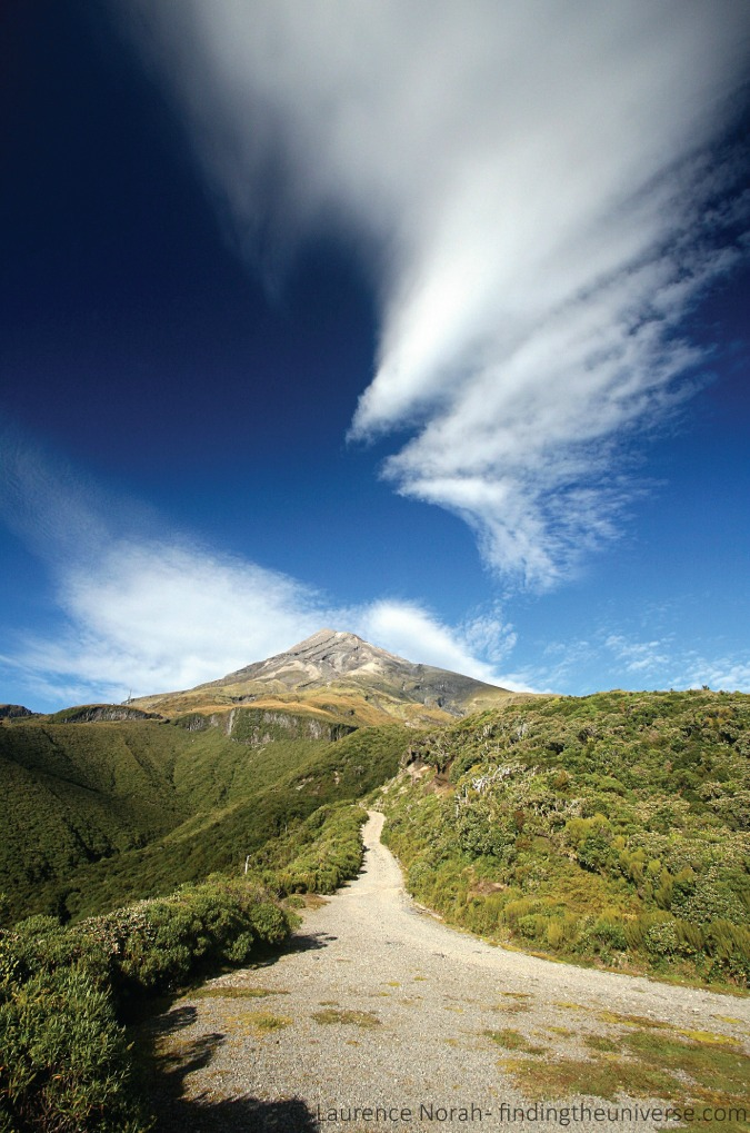 Photo of the walking trail up Mount Taranaki in New Zealand