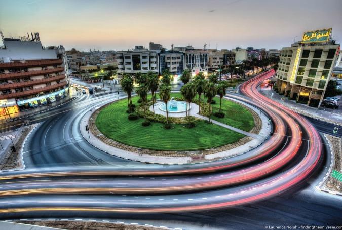 Stunning travel photo of a Dubai roundabout at night