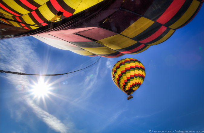 Dazzling picture of hot air balloons in Napa Valley, CA