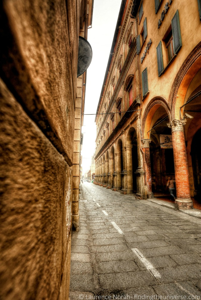 Stunning travel photo of gorgeous street in Bologna, Italy