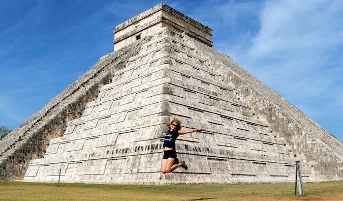 Woman visiting Chichen Itza