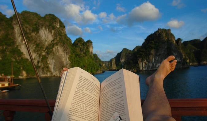 reading in a boat