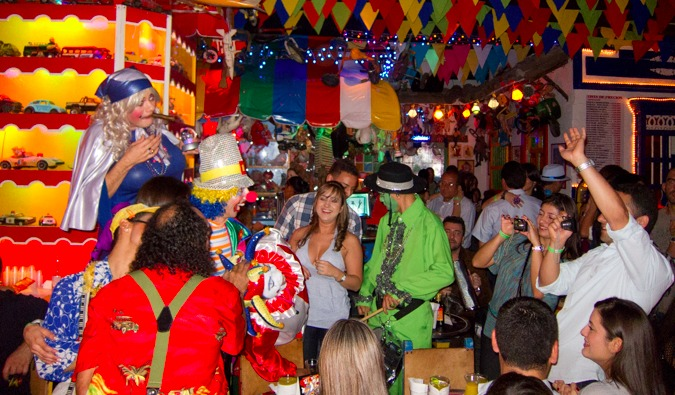 Crazy adult costume party in Medellin