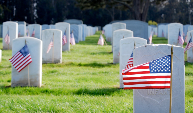 Memorial Day Flags with gravestones a cemetery in the USA