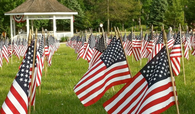 Memorial Day Flags with gazebo in the USA