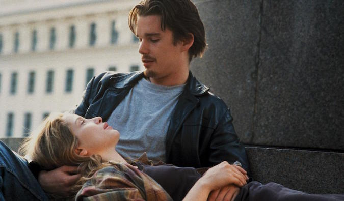 love scene between two backpackers in Before Sunrise trilogy