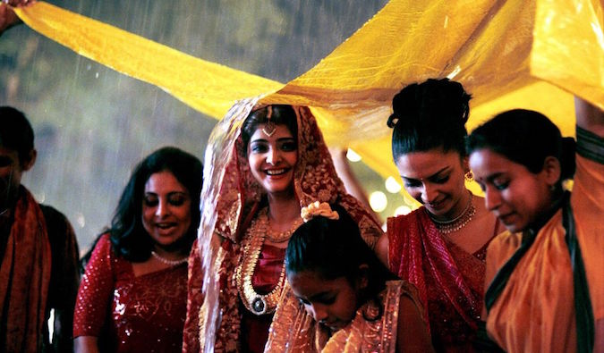 rainy wedding scene from the popular Indian movie monsoon wedding