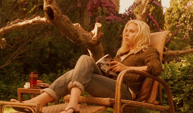Scarlet Johansson lounging in European backyard in Vicky Cristina Barcelona