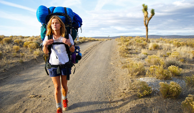 Reese Witherspoon solo hiking on a train in Wild film