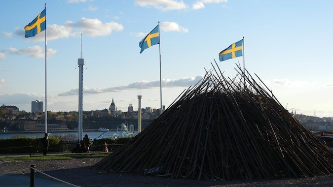 swedish flags on valborg day