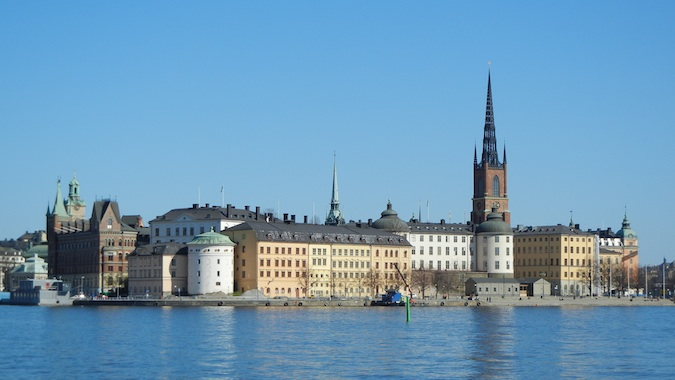 Beautiful buildings on the water in Stockholm, Sweden