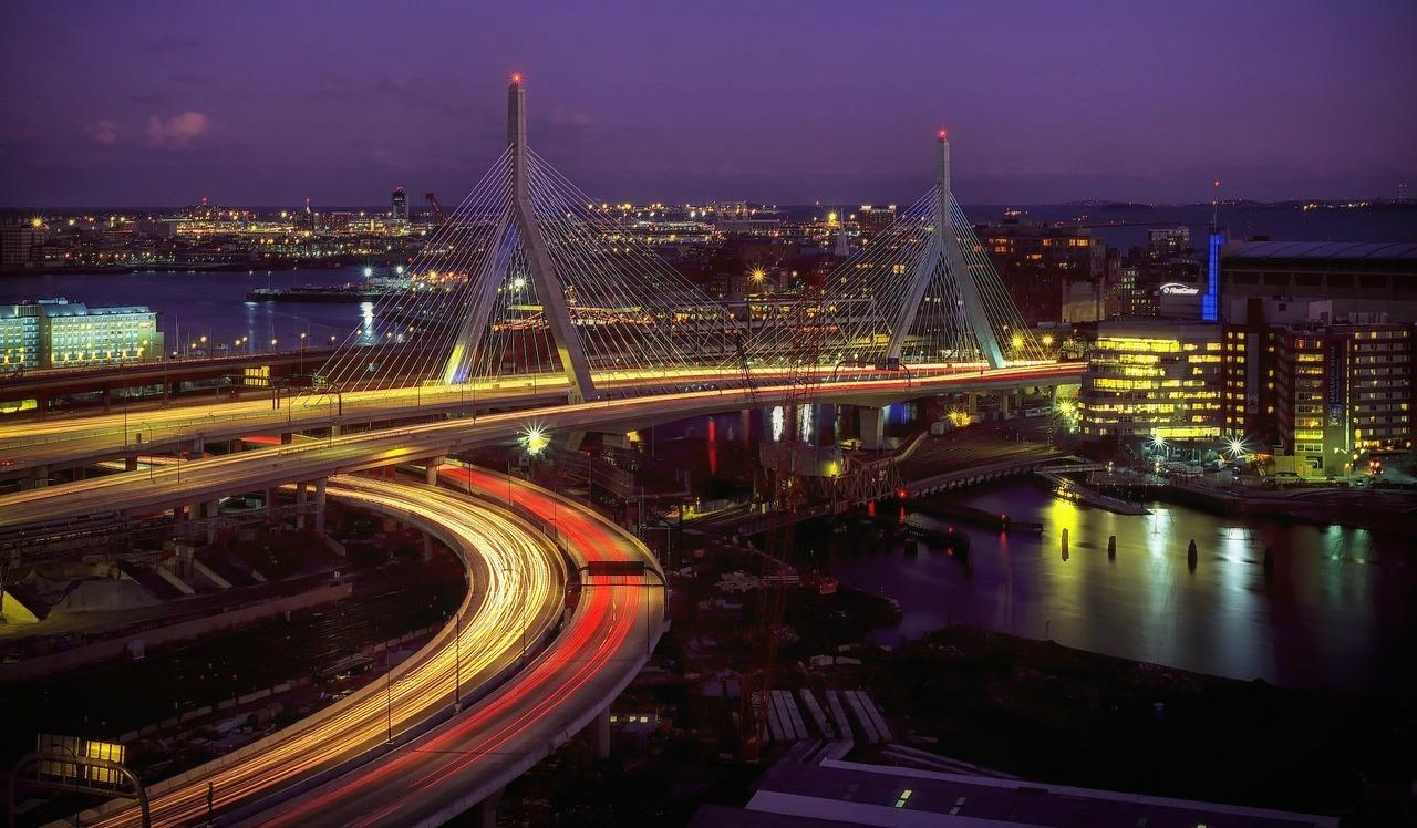 Boston lit up at night