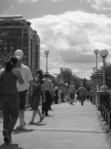 Black and white photo of people walking in Boston