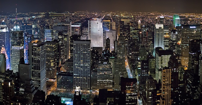 The New York City skyline lit up beautifully at night