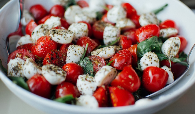 Tomato and mozzarella farm to table healthy salad found in NYC