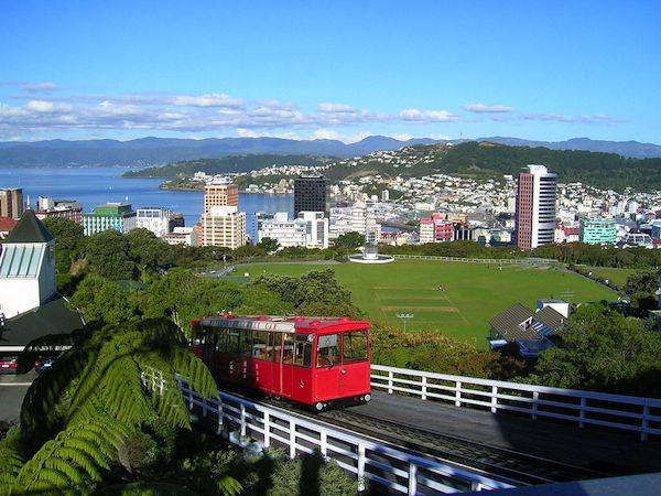 Cityscape of the capital city of New Zealand, Wellington, on a sunny day