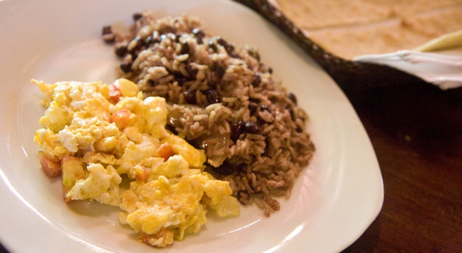 Nicaragua gallo pinto dish of eggs, rice and beans