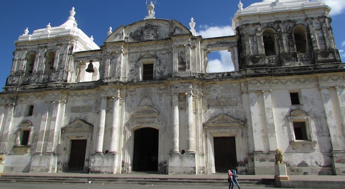 Grand church in Leon Nicaragua in the town center