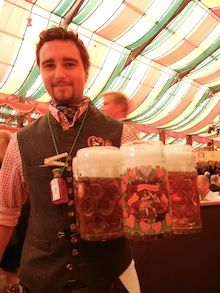 A waiter at the Hippodrom Tent at Oktoberfest in Germany