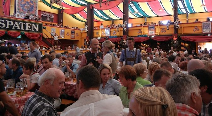The packed Hippodrom Tent at the very popular Oktoberfest beer festival in Munich