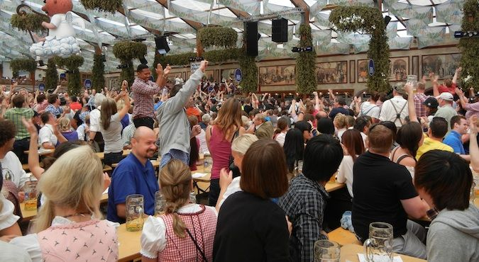 The Hofbrau House at Oktoberfest beer festival in Munich